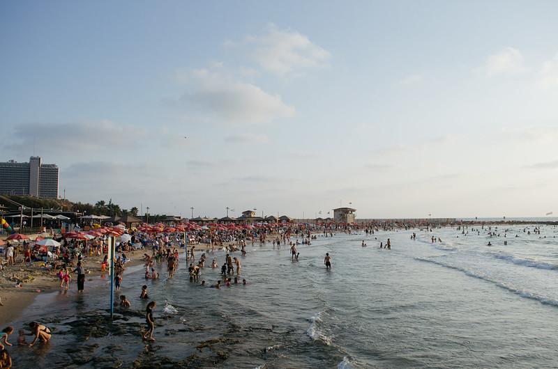 Busy Tel Aviv beach