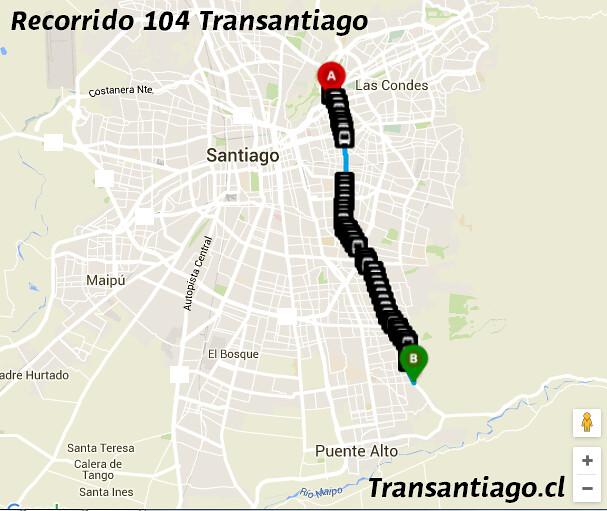 Recorrido 104 Transantiago