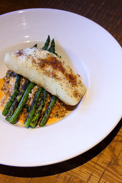 Roasted Halibut with Farro and Seasonal Vegetables