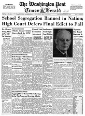 Washington Post leads with end of school segregation: 1954