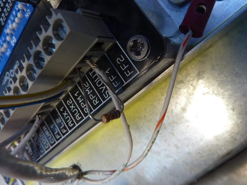 Resistor installed in fuel flow sender circuit