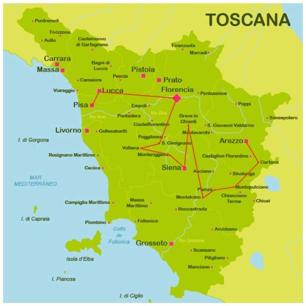 Mapa la Toscana