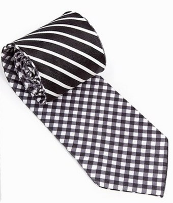 Reversible Gingham:Stripes Tie Black and White
