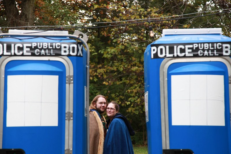 Doctor Who Porta-potties at a wedding as seen on @offbeatbride