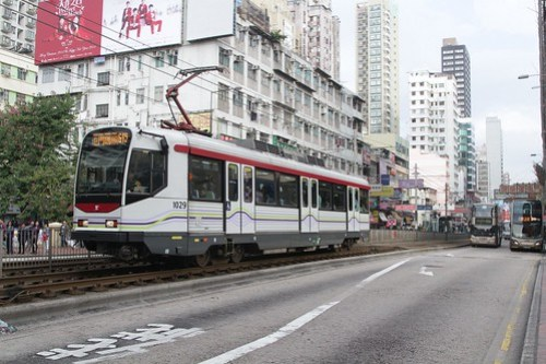 MTR Phase I LRV 1029 on route 615 in Yuen Long