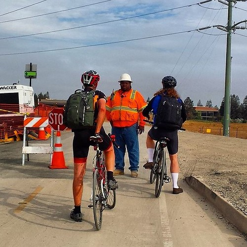 Temporary traffic control on the Guadalupe River Trail San Jose California   #cycling #ttc
