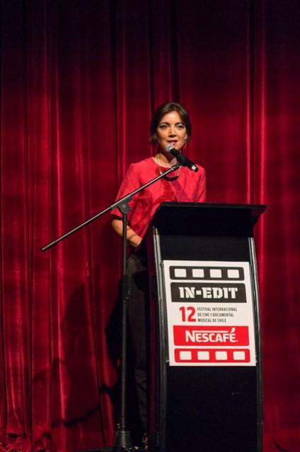 Marisol García en ceremonia inaugural. Teatro NESCAFÉ de las Artes