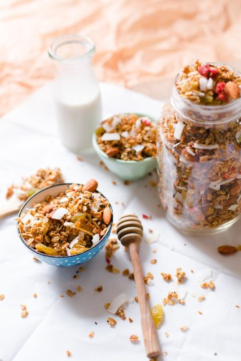 Dried Fruit and Nut Granola with Black Sesame Seed