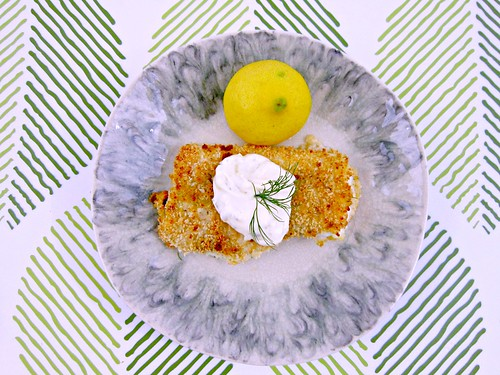 Crispy Baked Cod with Lemon Dill Sauce