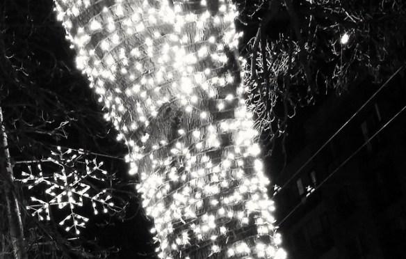 Snowflake, tree lights, and half moon