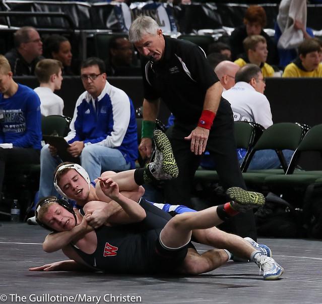 160 - Brady Berge (Kasson-Mantorville) over Jacob Neuberger (Worthington) Fall 1:53