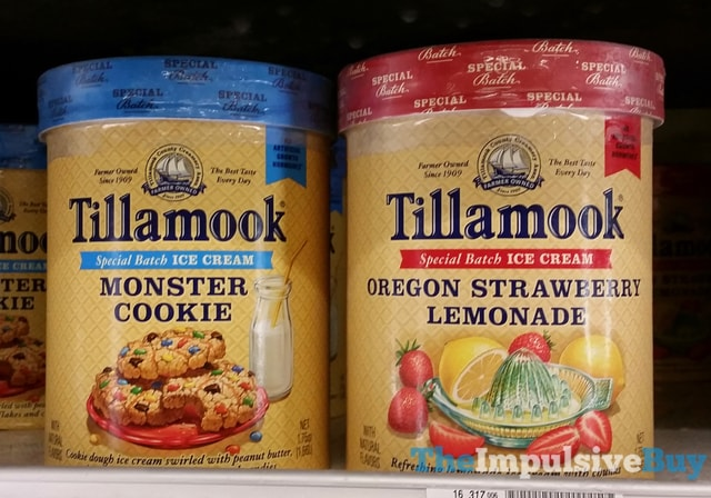 Tillamook Special Batch Monster Cookie and Oregon Strawberry Lemonade Ice Creams