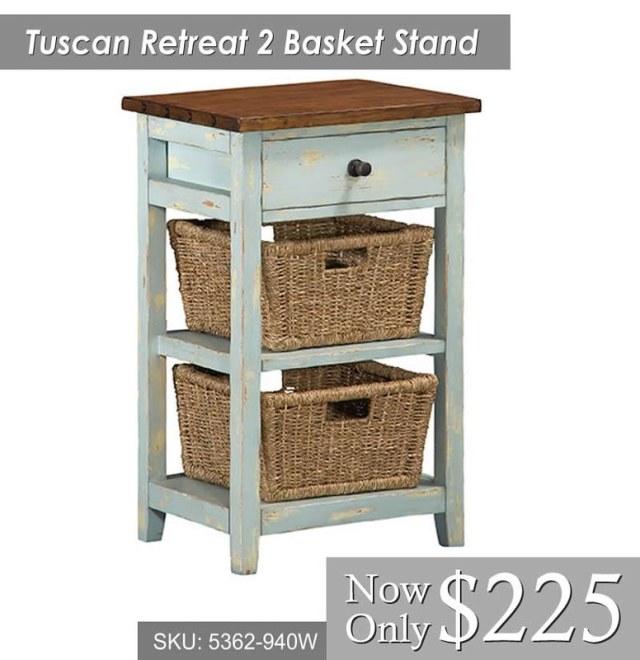 Tuscan Retreat 2 Basket Stand (5362-940W) $225