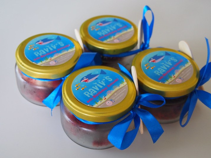red velvet cakes in a jar