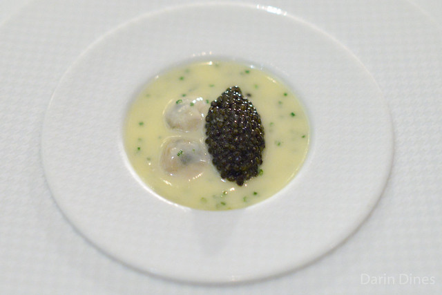 """""""OYSTERS AND PEARLS"""" """"Sabayon"""" of Pearl Tapioca with Island Creek Oysters and Sterling White Sturgeon Caviar"""