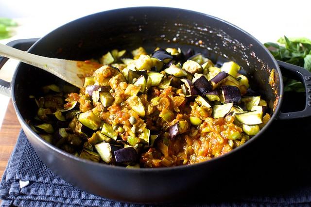 eggplant into sauce