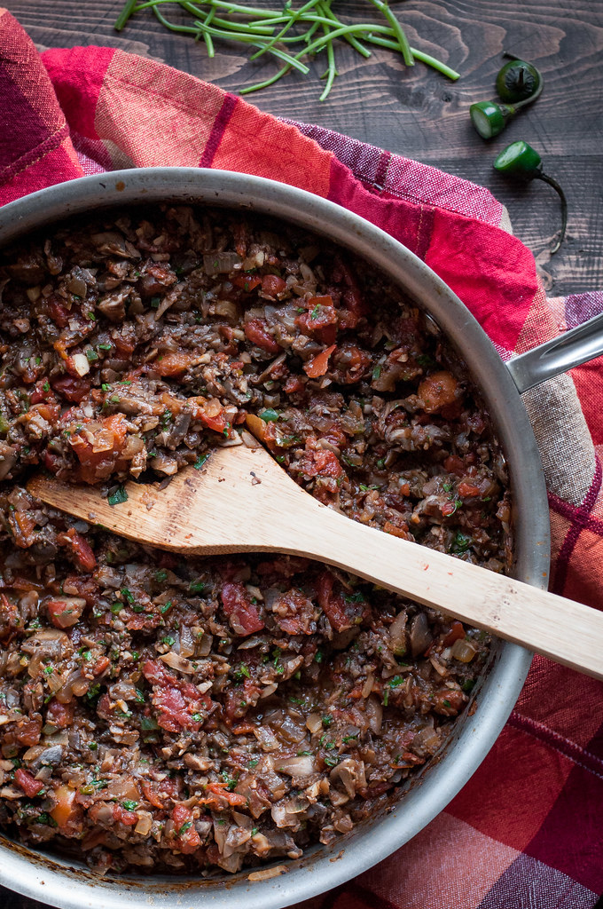 Healthy, vegan filling for mushroom enchiladas