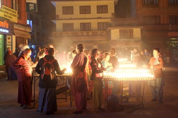 Lighting lamps. Boudhanath