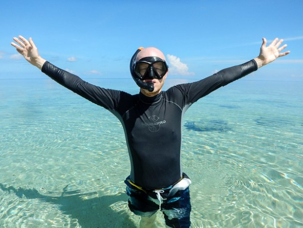 A happy snorkeler. Hatta, Banda Islands