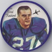 1964 Nalley's Potato Chips CFL Plastic Football Coin (type 1 back) - GORD ROWLAND #95-N (Winnipeg Blue Bombers / Canadian Football League) (trader #2)
