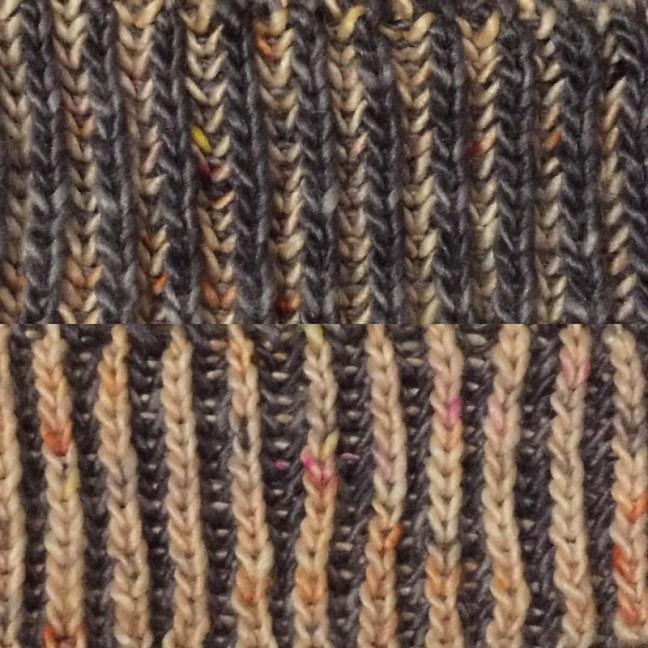 #hedgehogfibres silk/merino singles monarch x cinder brioche cowl CO!! 4.5mm、35目。ようやく納得いく感じになって来ました。