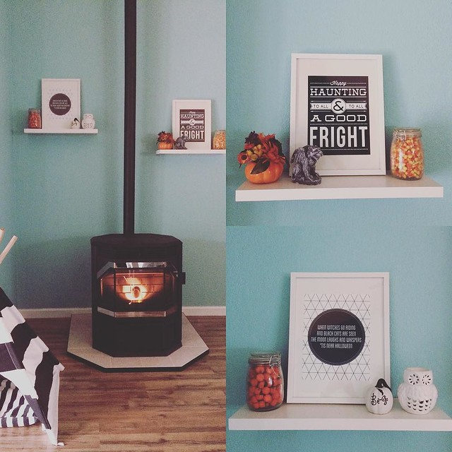 Cozy pellet stove and #halloween decor. #shelfiesunday #mantel