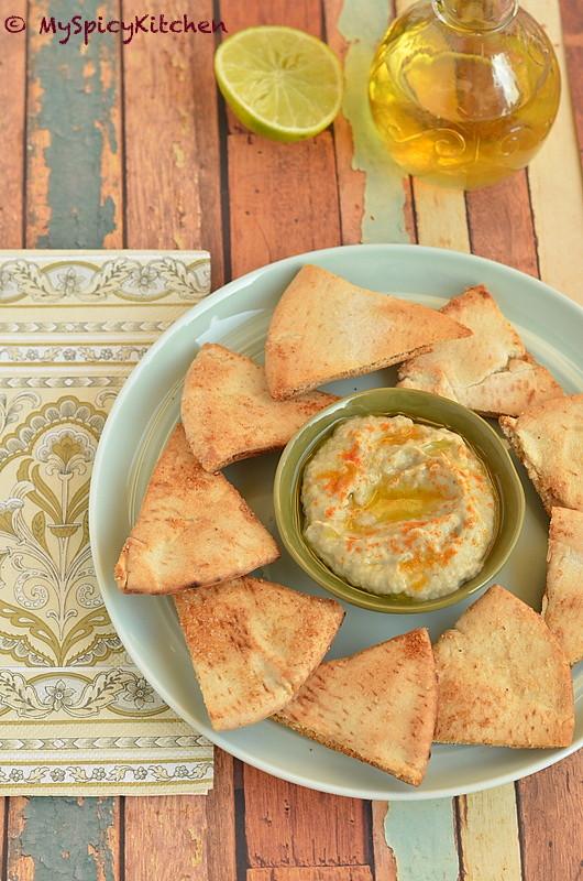 Blogging Marathon, Buffet onTable, Baba Ghanoush, Eggplant dip, Lebanese Food, Lebanese Cuisine, Mediterranean Food, Middle Eastern Food, Pita Chips