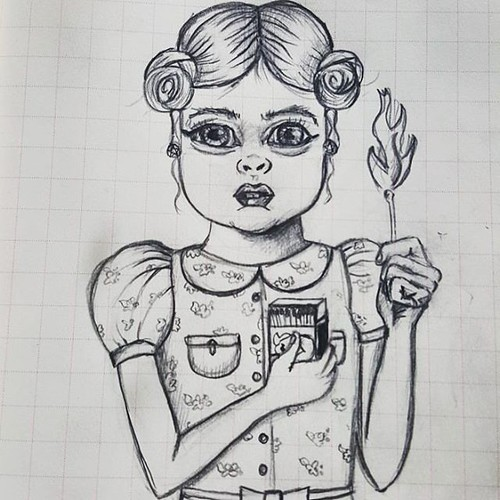 Lil Firestarter #doodle #sketching #sketch #onesketchaday #journal #pencil #portrait #illustration #comic #cartoon #draw #artwork