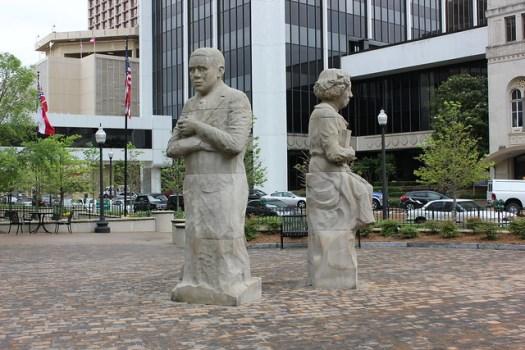 The Storytellers: Eudora Welty, Richard Wright, William Faulkner sculptures at Pinnacle, Jackson MS