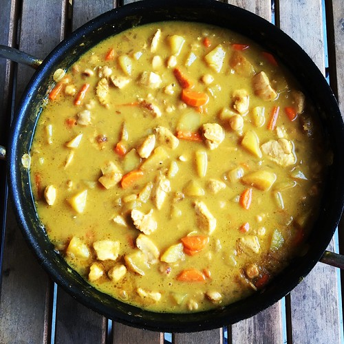 Chicken curry with potatoes, carrots and chickpeas