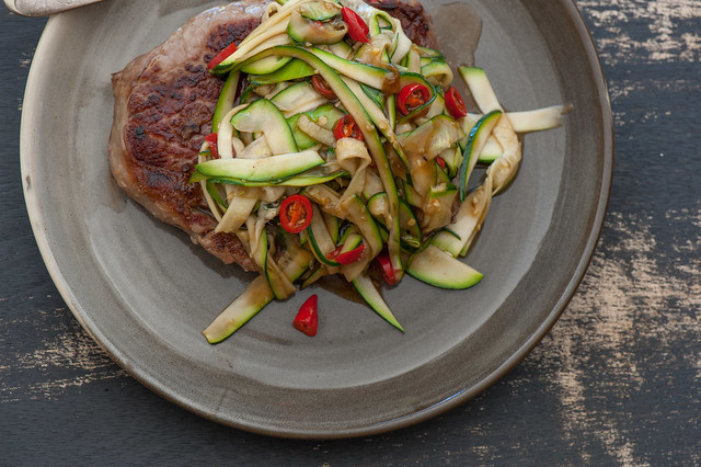 Steak with Asian Zucchini 'Noodles'-2
