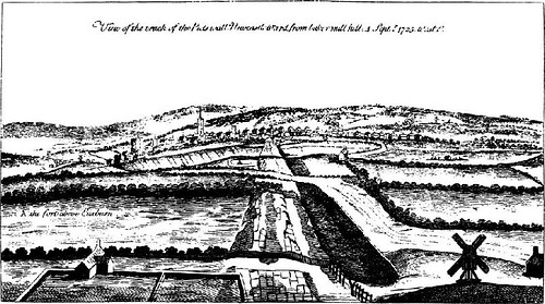 Etching from Stukeley showing the location of Milecastle 3