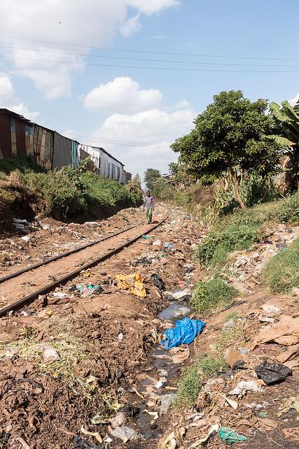 The Rail Road tracks running through Kibera
