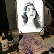 Today's project! Thanks to my sponsors for always being there! @starbritecolors and @hustlebutterdeluxe  you guys rock!!   Lana del Rey portrait today for the sweet Rosa @rosa_miller @lanadelrey so cute/hot! Lots of pressure!!! #lanadelrey