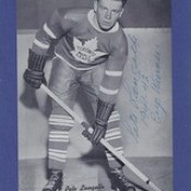 1934-43 Beehive Hockey Photo / Group I - PETE LANGELLE (Centre) (b. 4 Nov 1917 - d. 29 Nov 2010 at age 93) - Autographed Hockey Card (Toronto Maple Leafs) (#333)