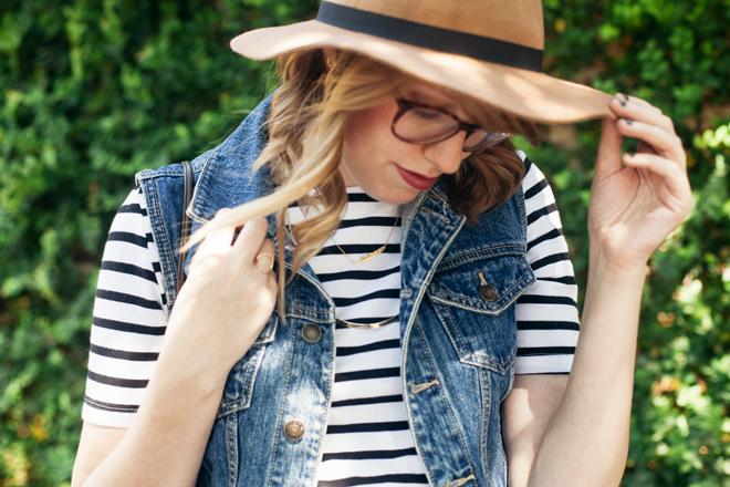 striped shirt denim vest2