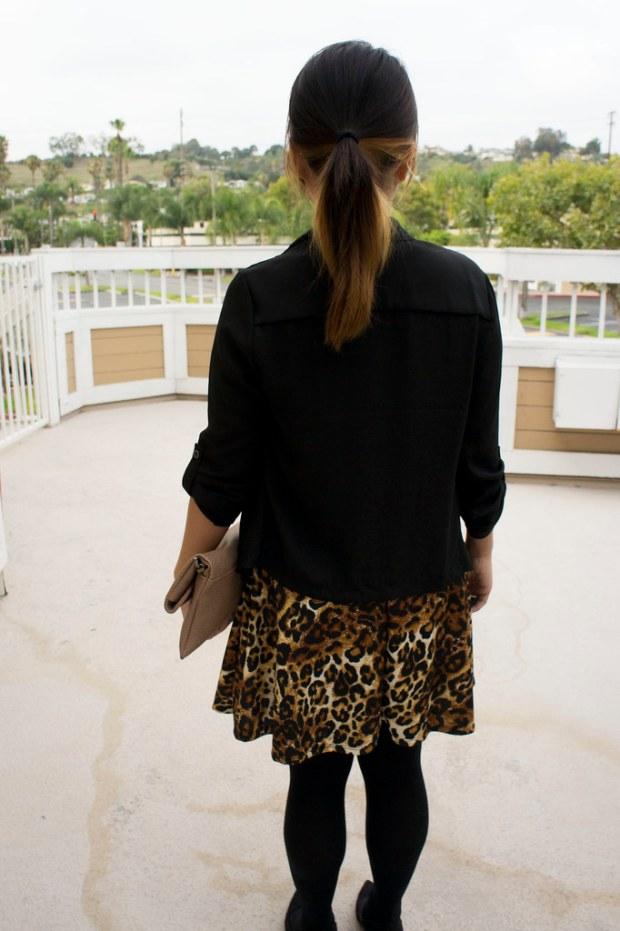 Black Chiffon Blazer and Leopard Dress