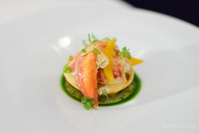 """BUTTER POACHED NOVA SCOTIA LOBSTER """"TARTE"""" Frog Hollow Farm's Apricots, Toasted Almonds, Fennel """"Tapenade"""" and Shishito Pepper Vinaigrette"""