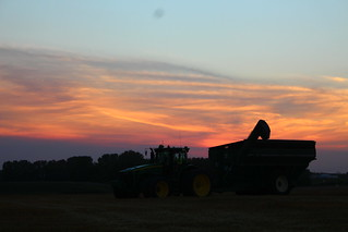 Sunsets and grain carts.