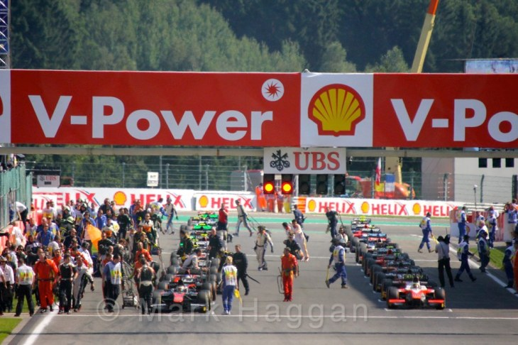 The grid for the GP2 Feature Race at the 2015 Belgium Grand Prix