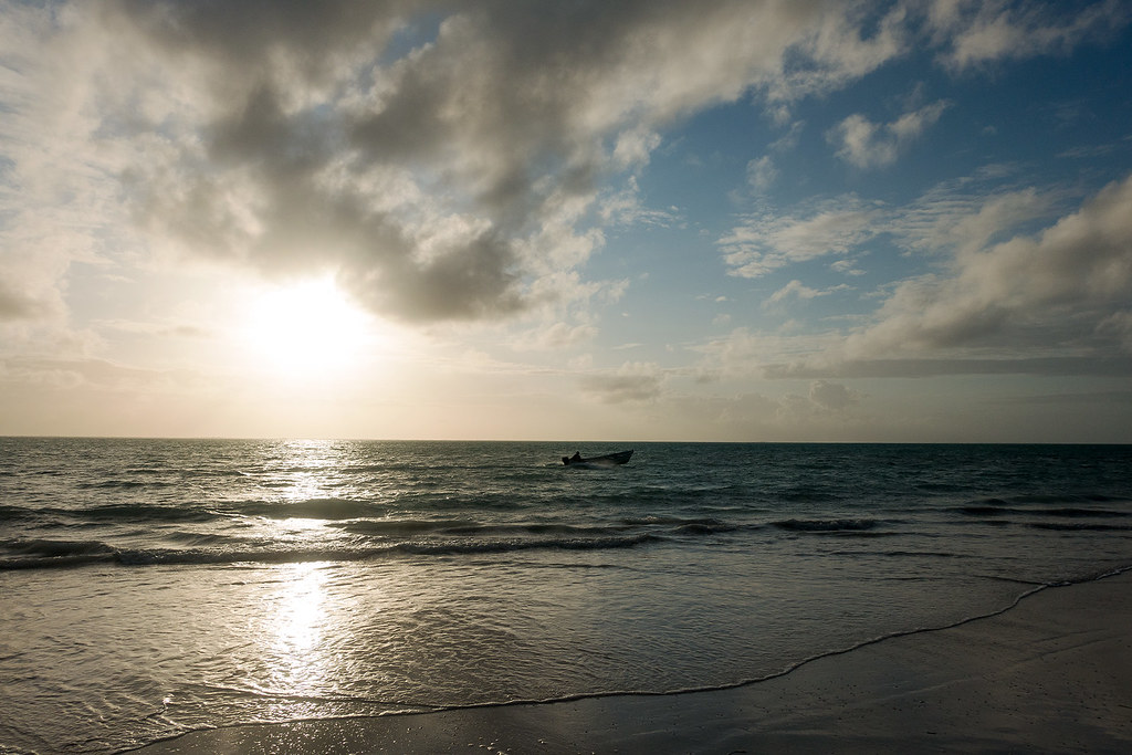 A fisherman up with the sun in Bwejuu, Zanzibar.