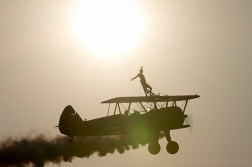 Wingwalking in the sunset
