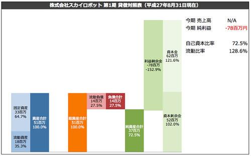 株式会社スカイロボット 第1期 貸借対照表(平成27年8月31日現在)