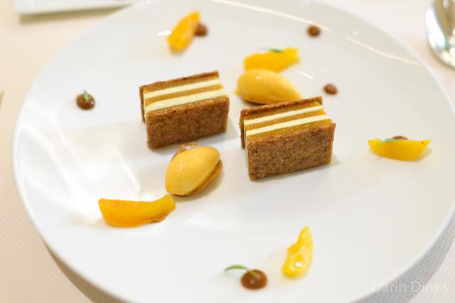 ABRICOT Poached Apricot, Coriander Gelée, Cilantro Cream, Hazelnut Croustillant, Apricot-Lime Sorbet