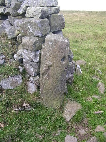 Uninscribed milestone west of Great Chesters
