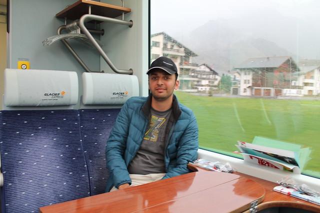 zaid in Glacier Express to St Moritz Switzerland