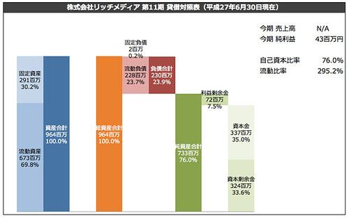 株式会社リッチメディア 第11期 貸借対照表(平成27年6月30日現在)