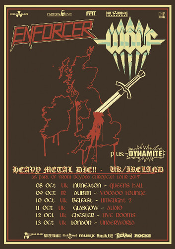 Artwork for Enforcer's 2015 UK and Ireland tour