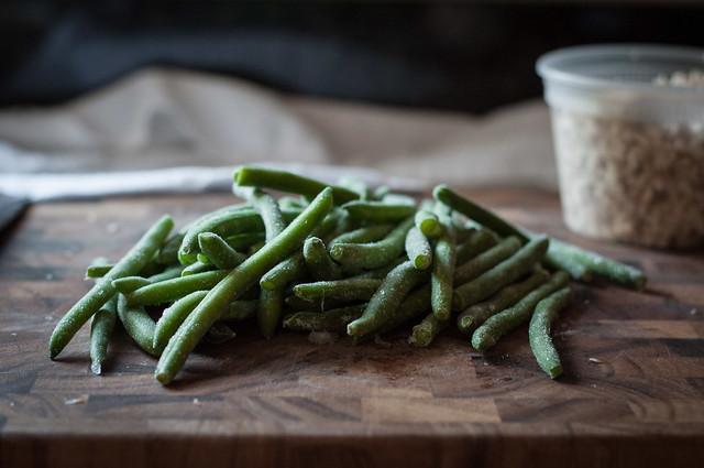 Frozen green bean pile