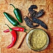Cumin, cinnamon, chili, jalapeños, chipotle